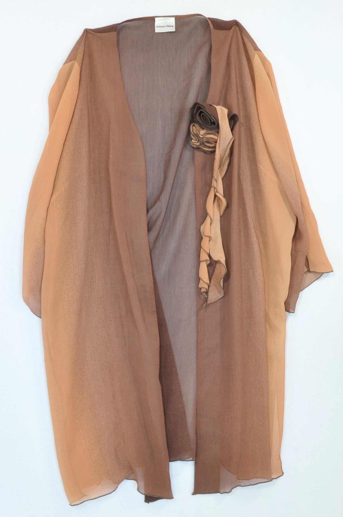 Donna Claire Peach & Brown Ombre Flower Kimono Blouse Women Size 18