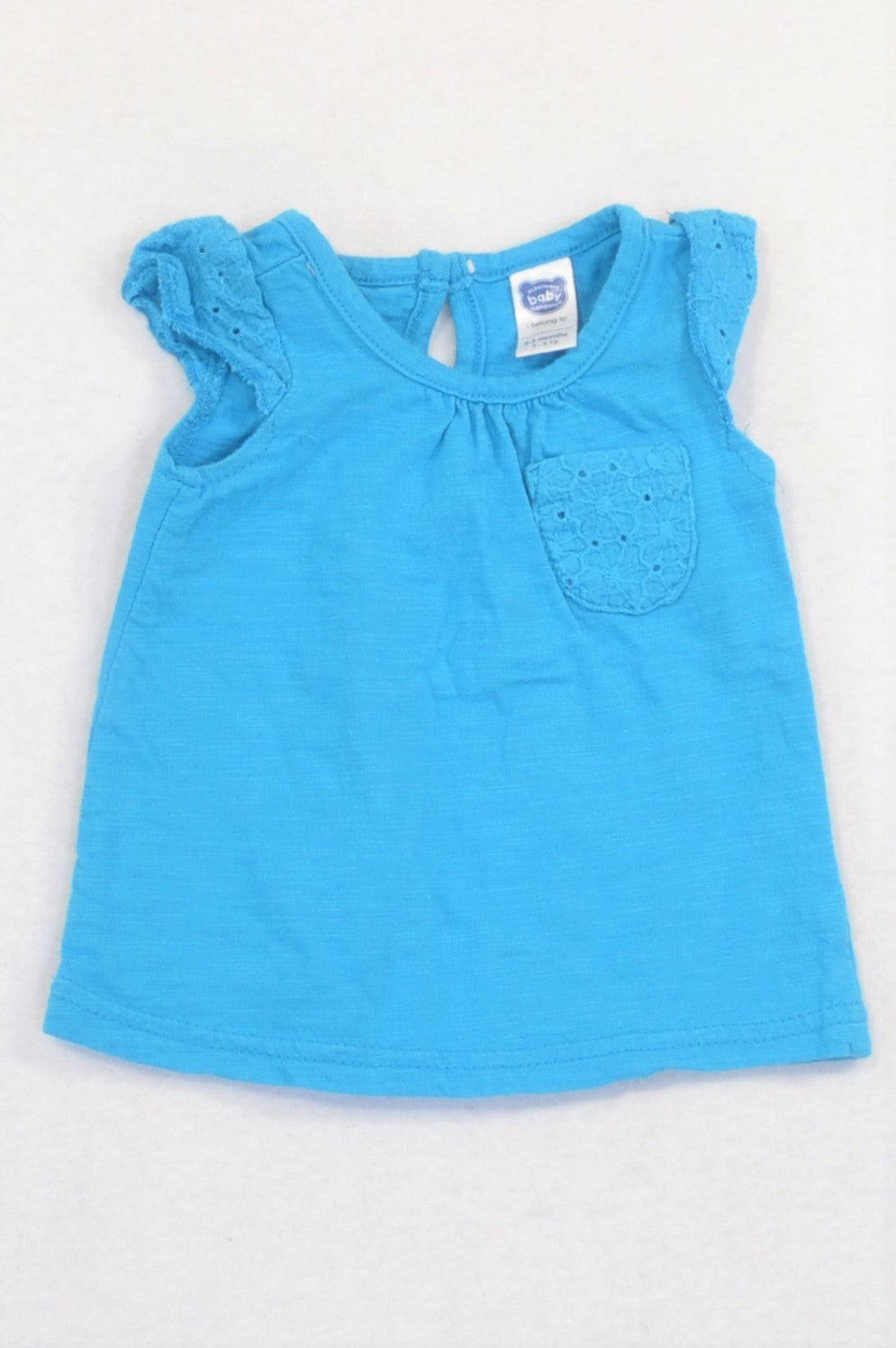 Ackermans Bright Blue Embroidered Pocket & Sleeve T-shirt Girls 0-3 months