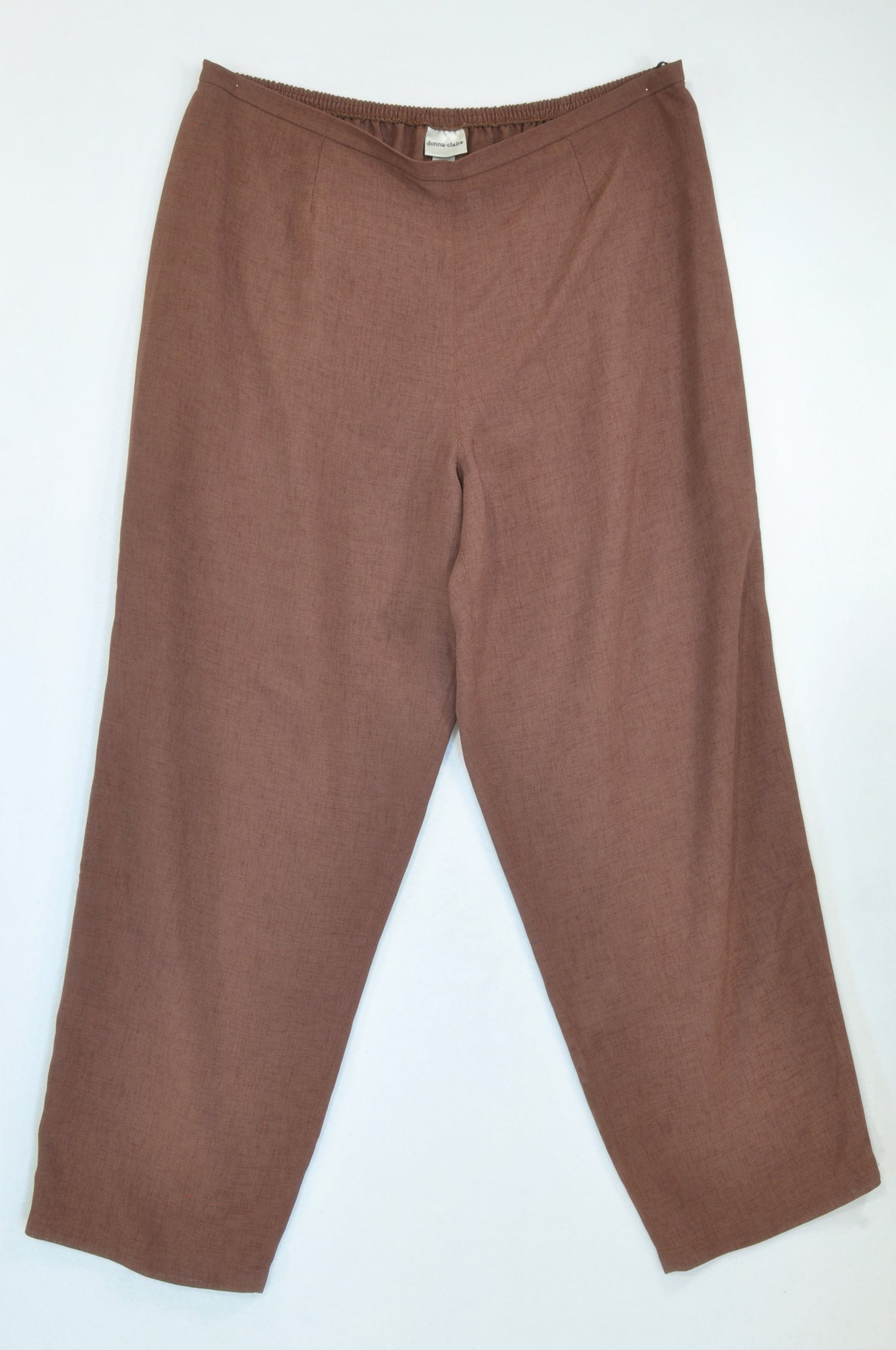 Donna Claire Heathered Brown Slack Pants Women Size 20