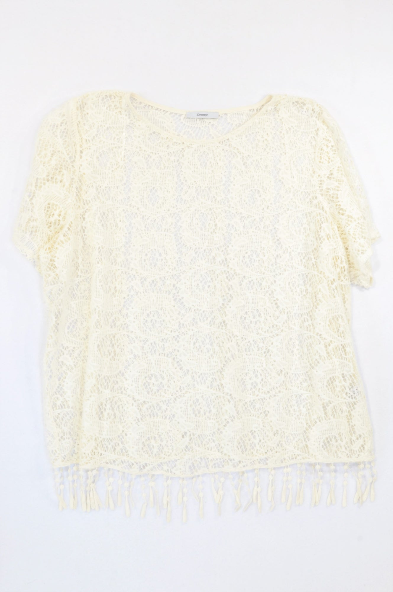 George Ivory Velour Lace Blouse Women Size 18