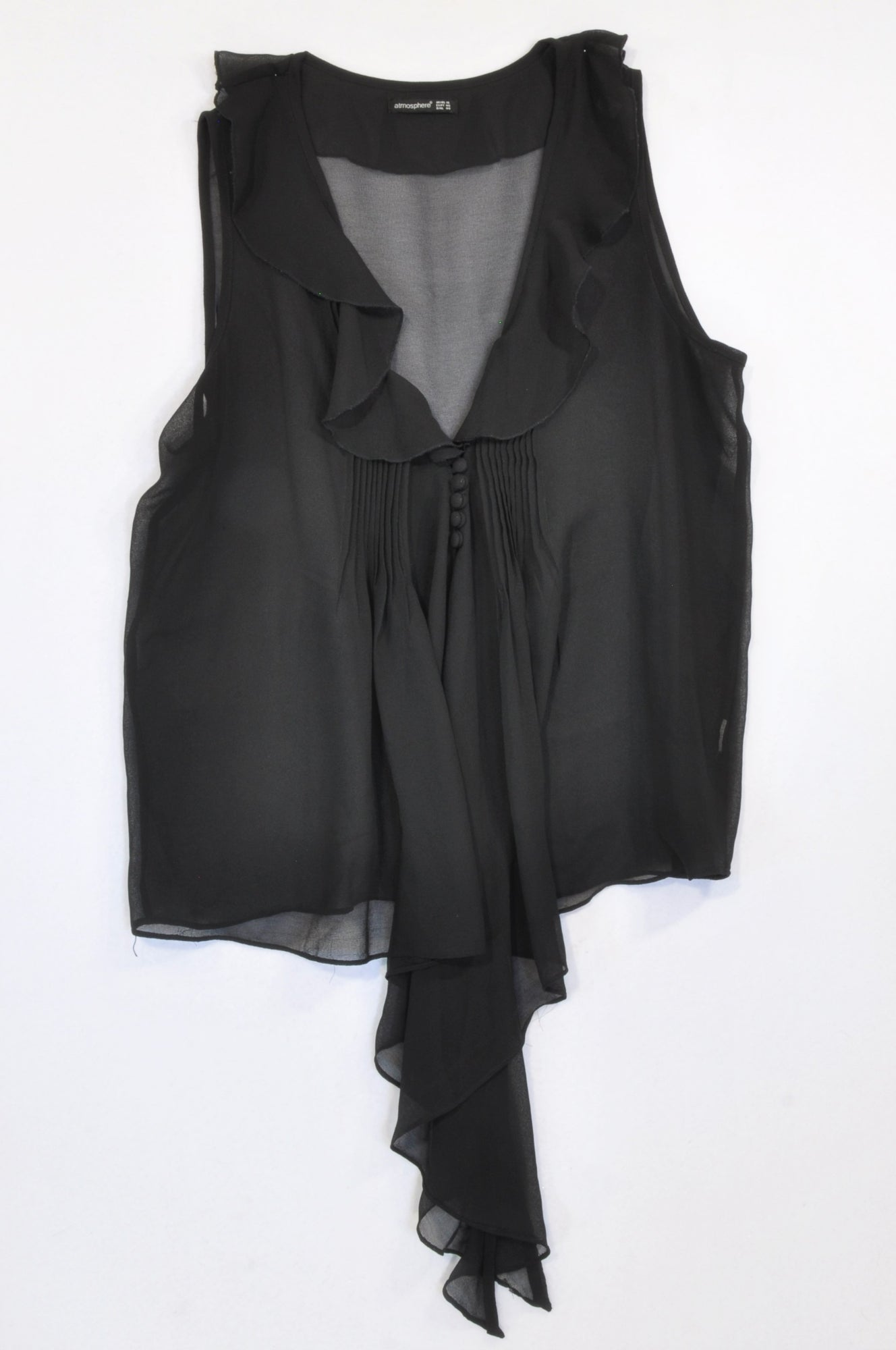 Atmosphere Black Sheer Neckline Frill Pleat Detail Blouse Women Size 18