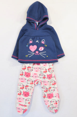 Ackermans Navy & Pink Fleece Kitten Track Suit Girls 3-6 months