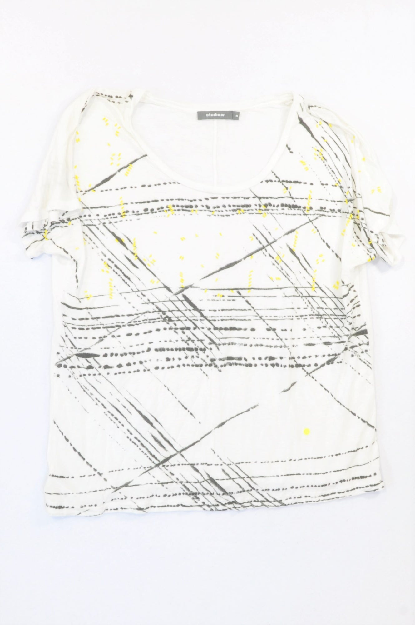 Woolworths White Paintwork & Yellow Bead T-shirt Women Size M