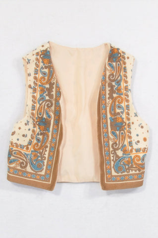 Princess Cream & Brown Butterfly Paisley Cropped Open Body Warmer Girls 4-6 years