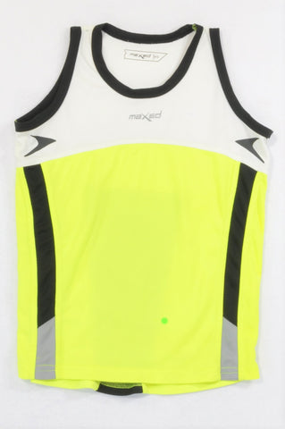 Maxed Black Trim White & Lumo Yellow Panel Sports Top Boys 9-10 years