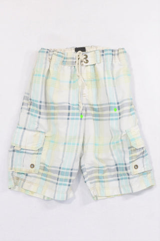 Maui & Sons Off-White and Aqua Plaid Long Swim Shorts Boys 9-10 years