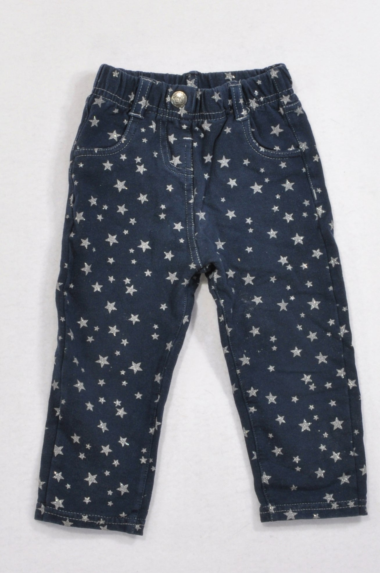 Unbranded Navy Silver Star Jeggings Girls 12-18 months