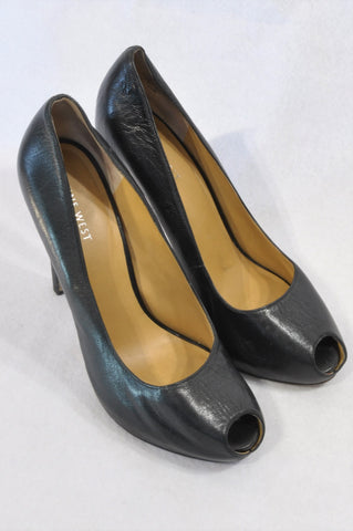 Nine West Black High Heel Open Toe Shoes Women Size 7.5