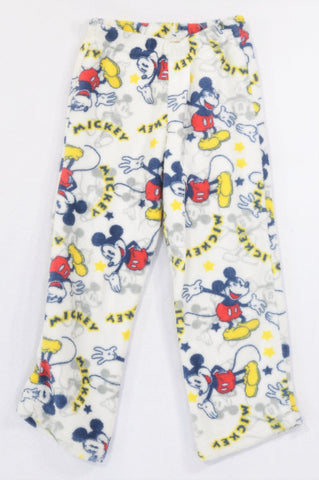 Disney White Mickey Mouse Print Fleece Pyjama Pants Unisex 5-6 years