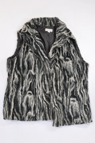 Queenspark Charcoal & Cream Faux Fur Body Warmer Women Size XXL