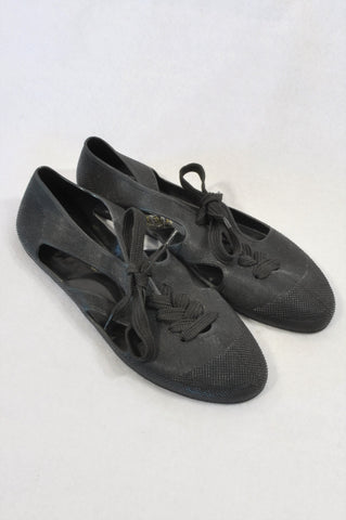 F-Troup Black Textured Tie Rubber Pointy Shoes Women Size 7