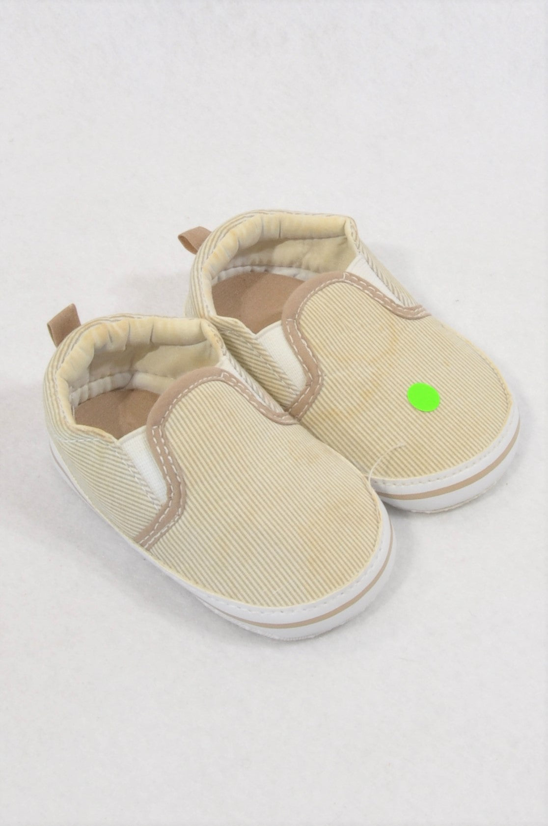 Unbranded Size 1 Beige Pinstripe Shoes Unisex 3-6 months