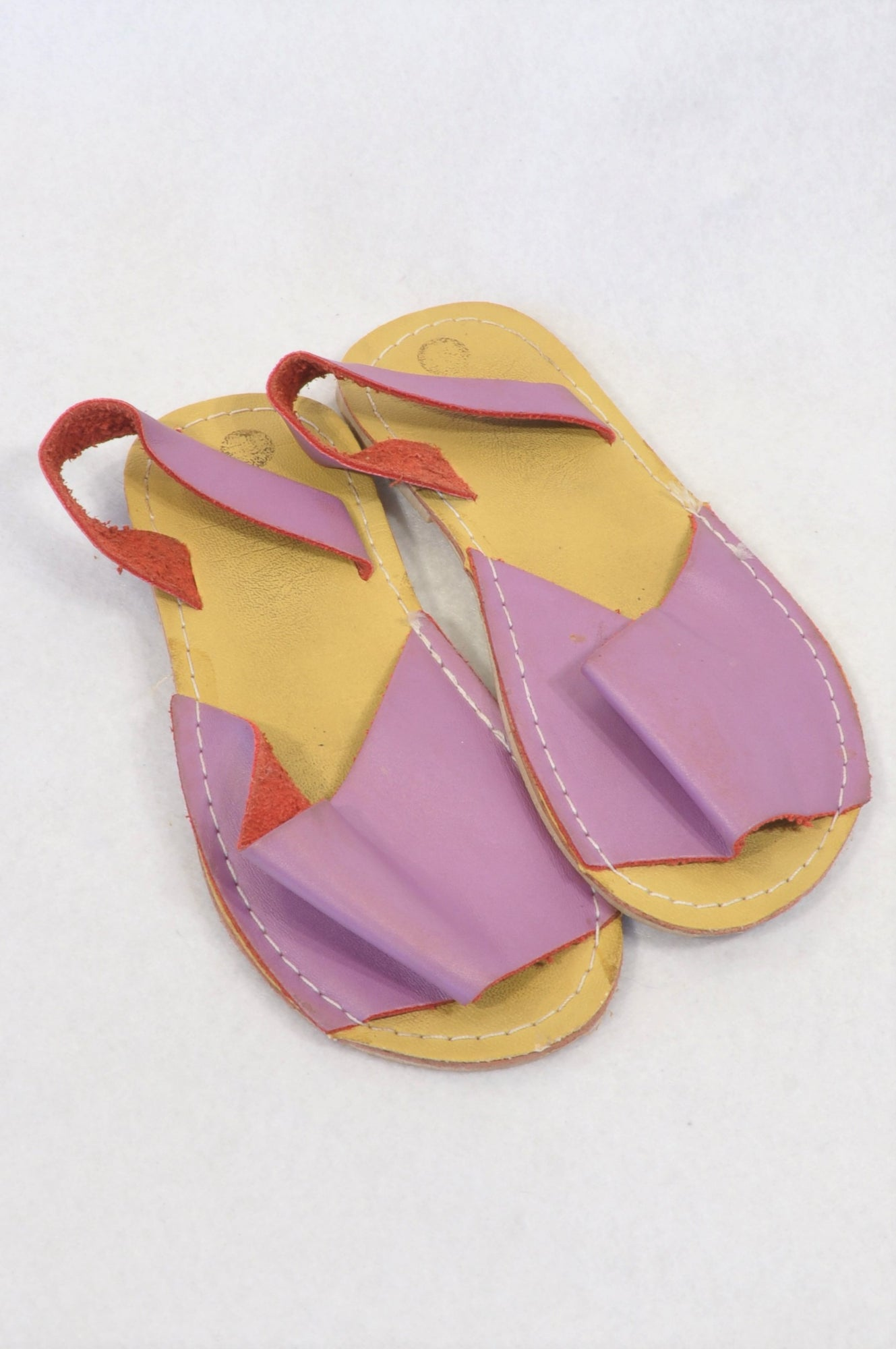 Woolworths Size 11 Purple Strap Leather Sandals Girls 6-7 years