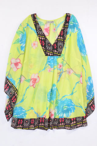 Donatella Lime Floral Sheer Tribal Trim Blouse Women Size 20