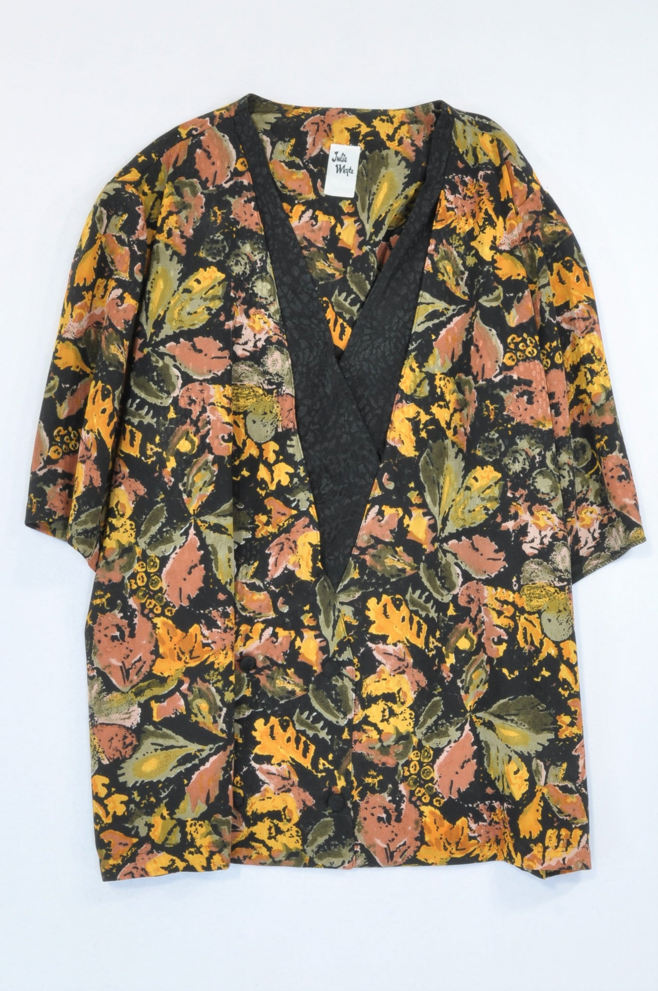 Julie Whyte Rose & Gold Watercolour Black Waistcoat Style Blouse Women Size 20