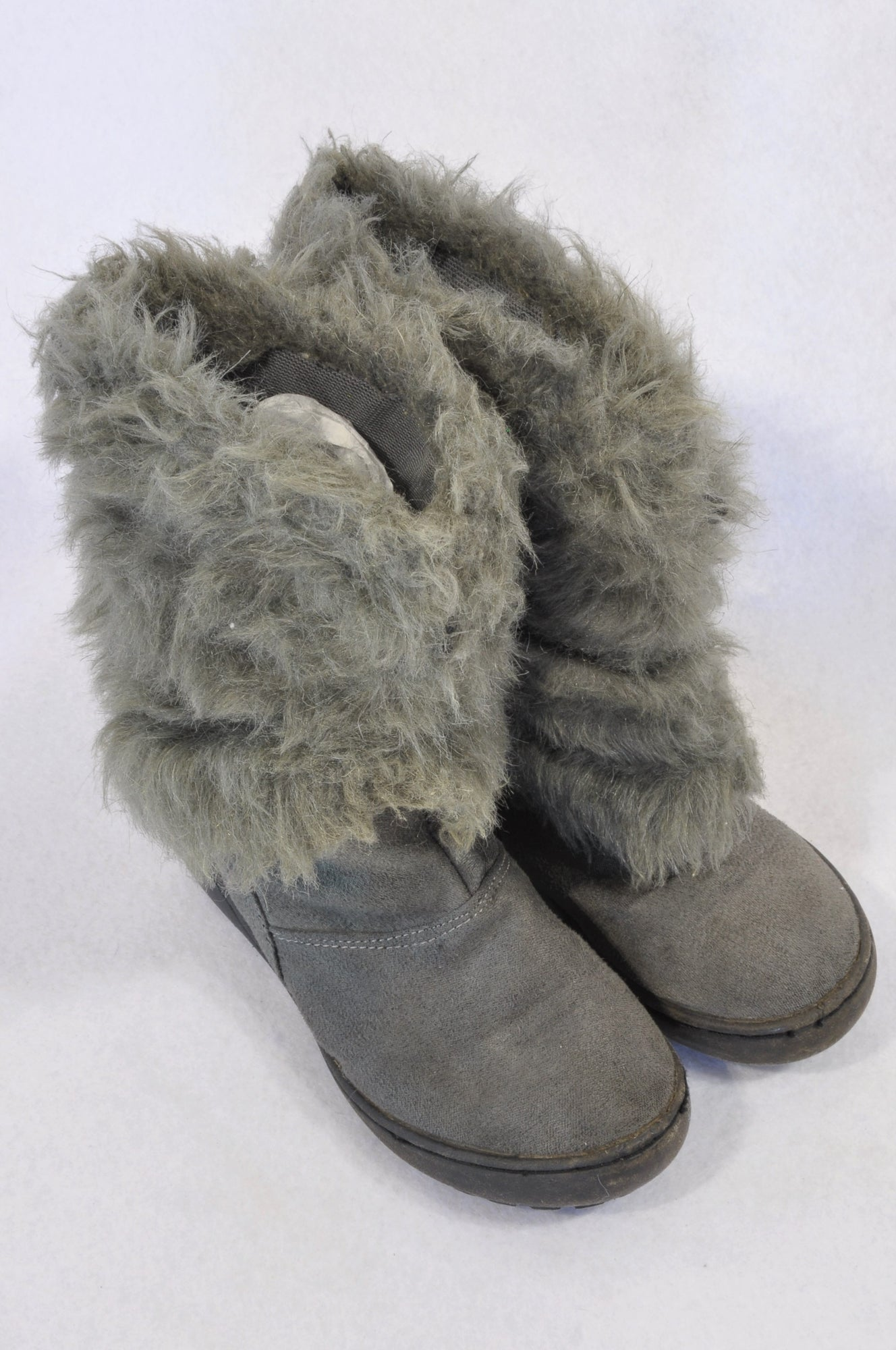 Woolworths Size 12 Grey Faux Fur Zipper Boots Girls 6-8 years