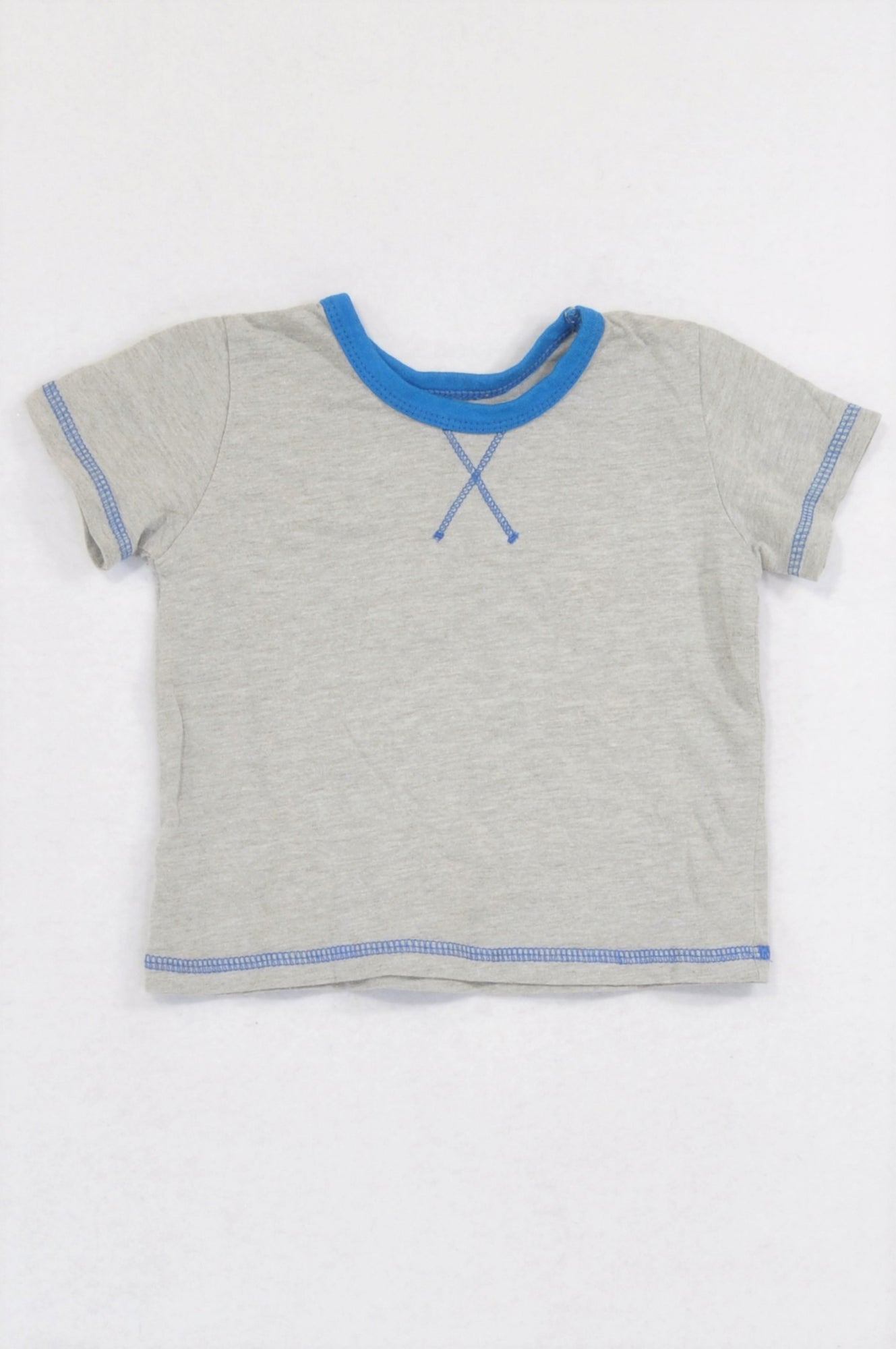 Woolworths Grey Blue Trim Neckline Stitch T-shirt Boys 6-12 months