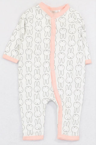New H&M Pink Trim Miffy The Bunny Onesie Girls 1-2 months