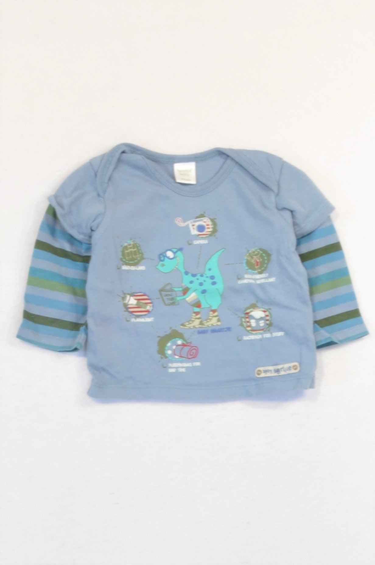 Naartjie Dusty Dinosaur Stripe T-shirt Boys 0-3 months