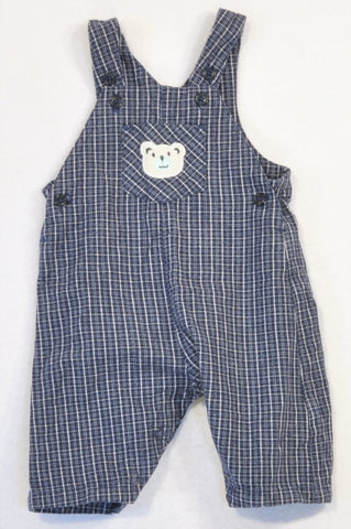 Mothercare Navy Plaid Bear Dungarees Boys 0-3 months