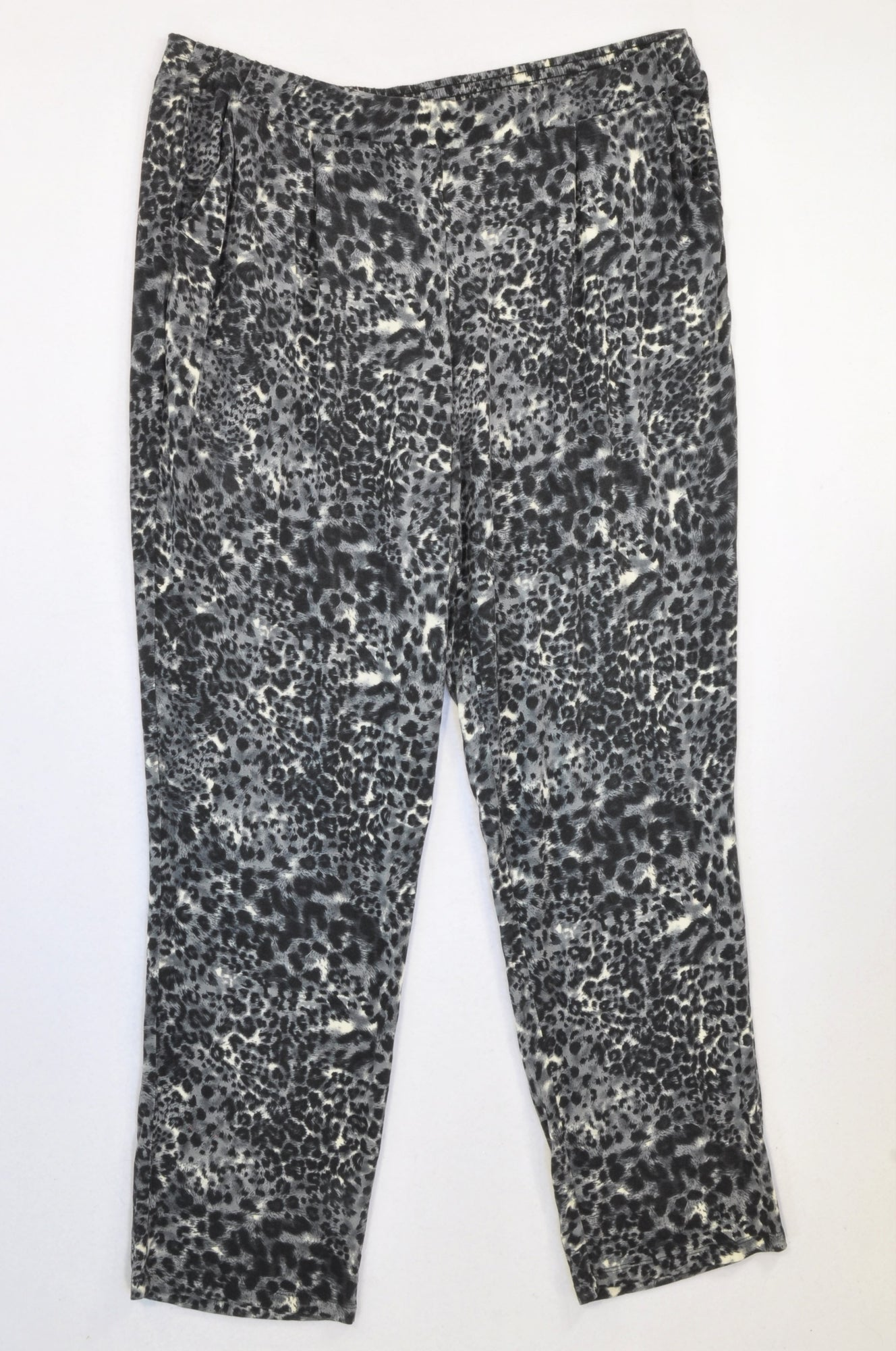 Queenspark Black & Grey Animal Print Jogger Pants Women Size XL