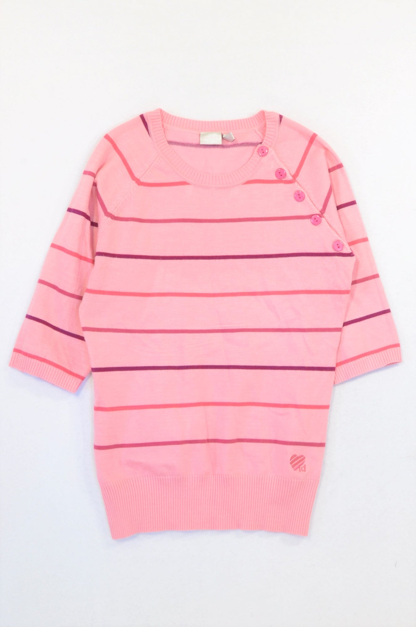 Identity Pink Stripe Shoulder Button Detail Jersey Women Size S