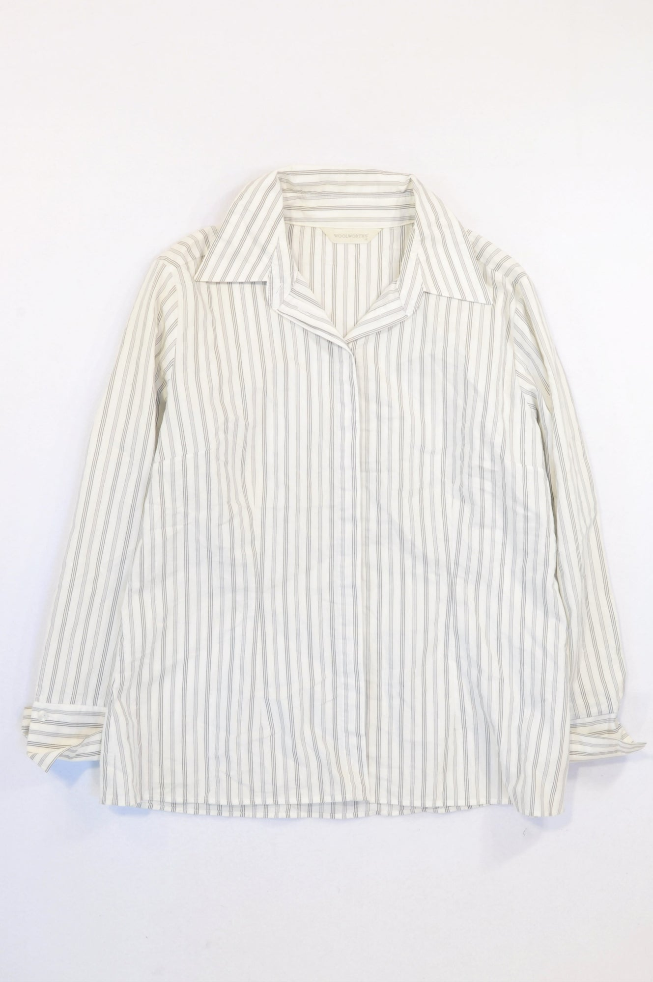 Woolworths White & Grey Pinstripe Formal T-shirt Women Size 16