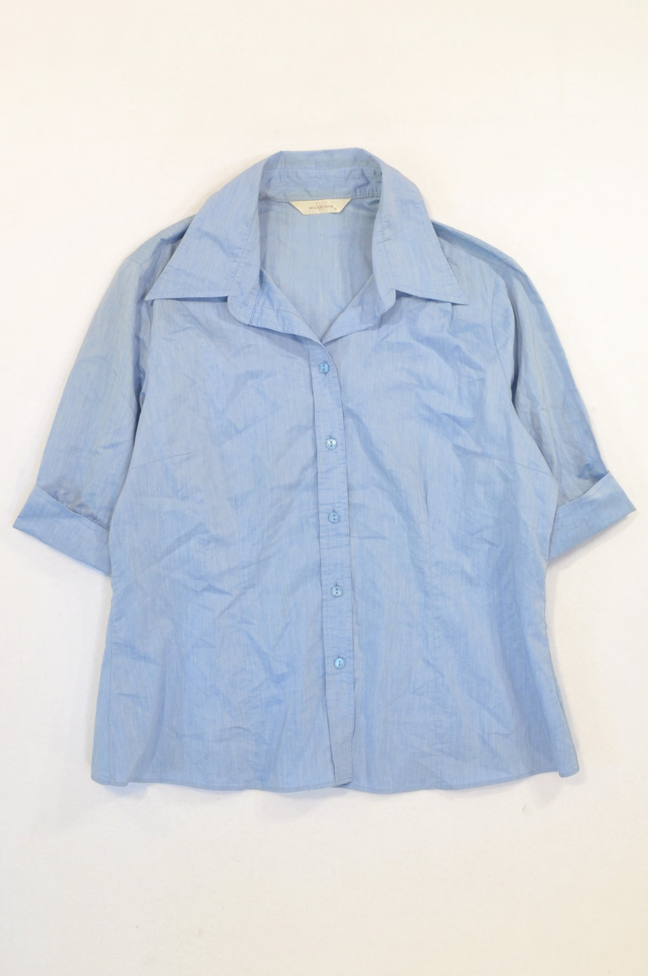 Woolworths Sky Blue Formal 3/4 Sleeve Shirt Women Size 16