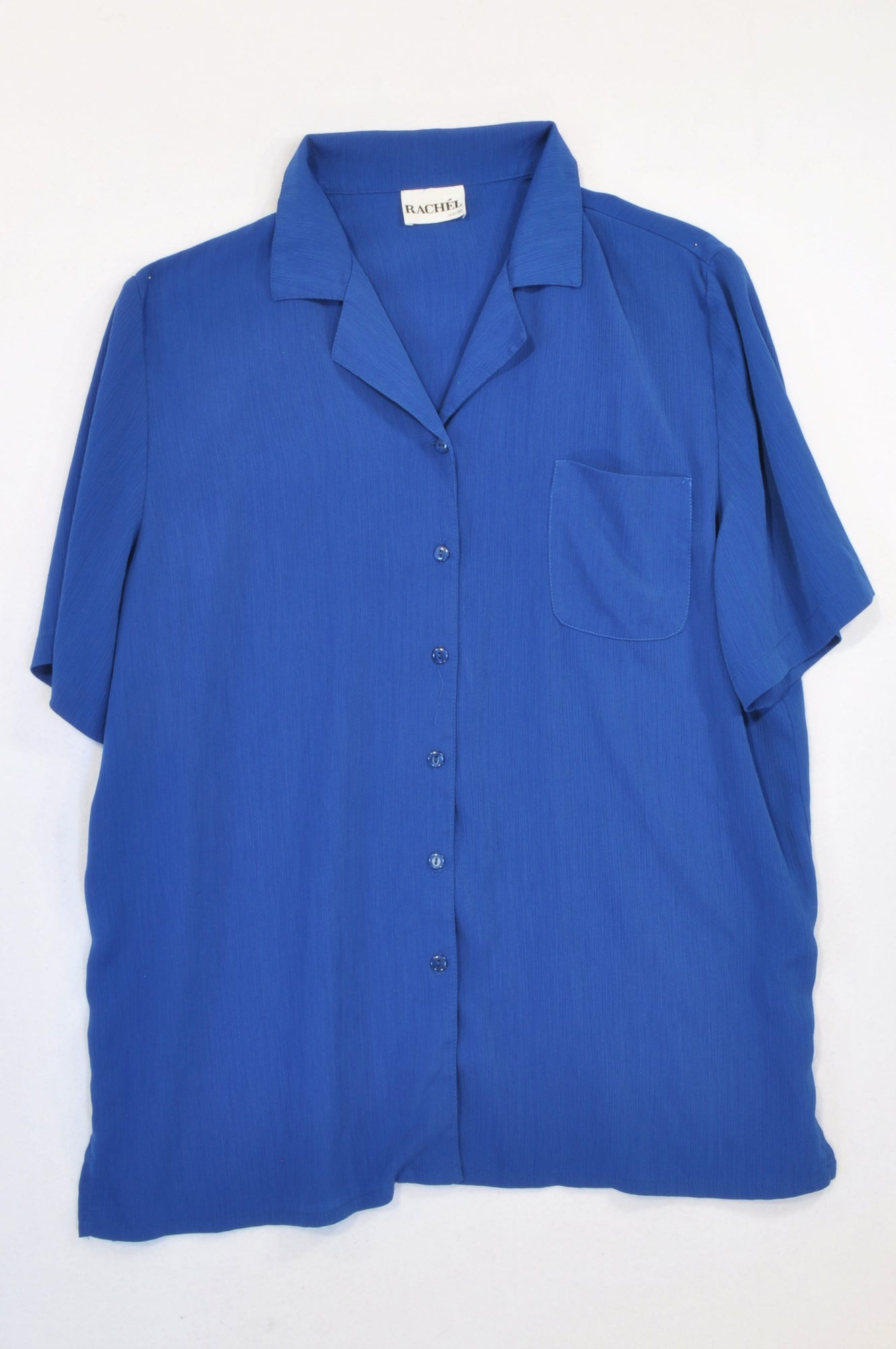 Rachél Royal Blue Crepe Button Blouse Women Size 44