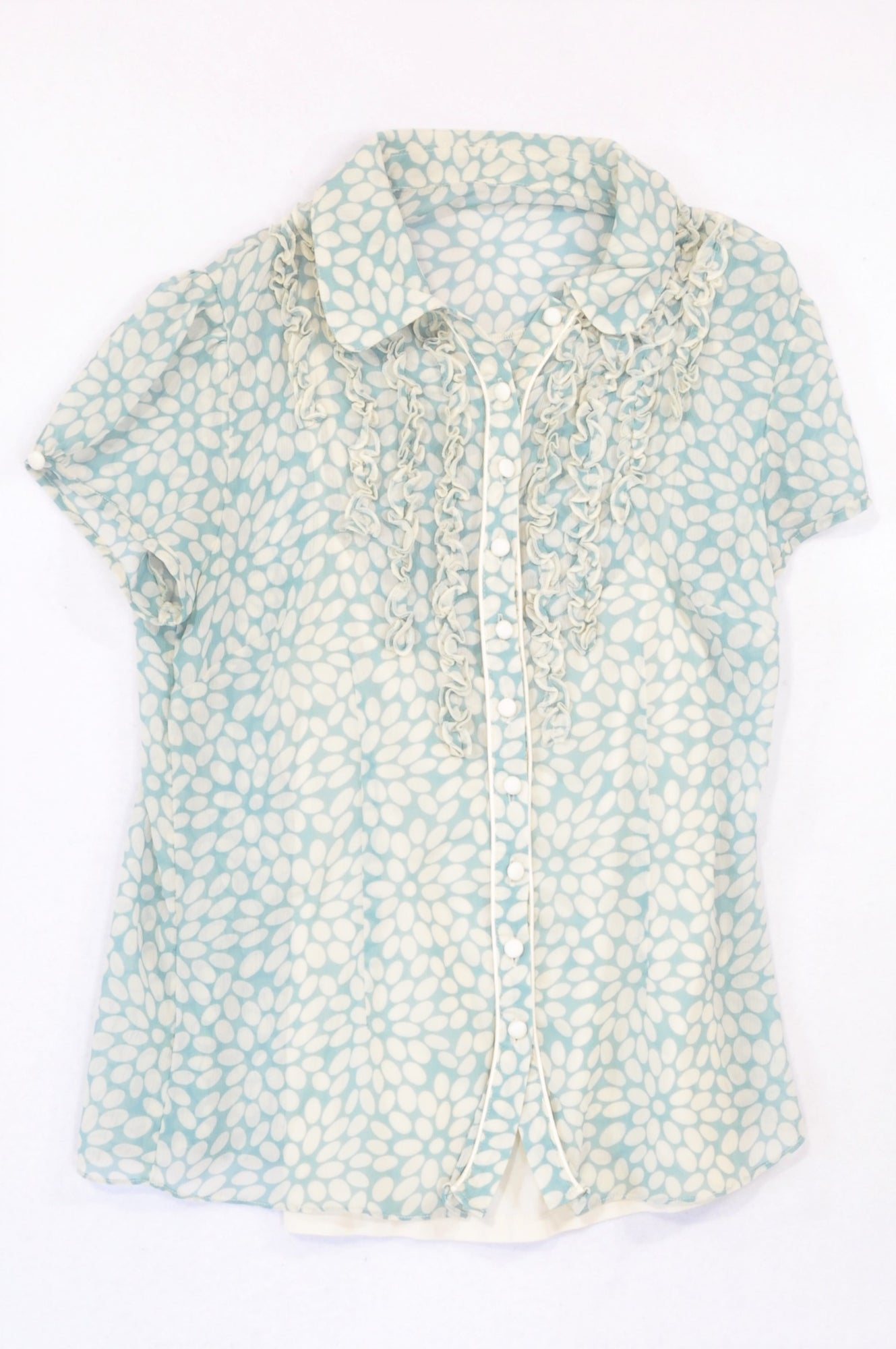 Next Teal Dotty Sheer Blouse Women Size 12