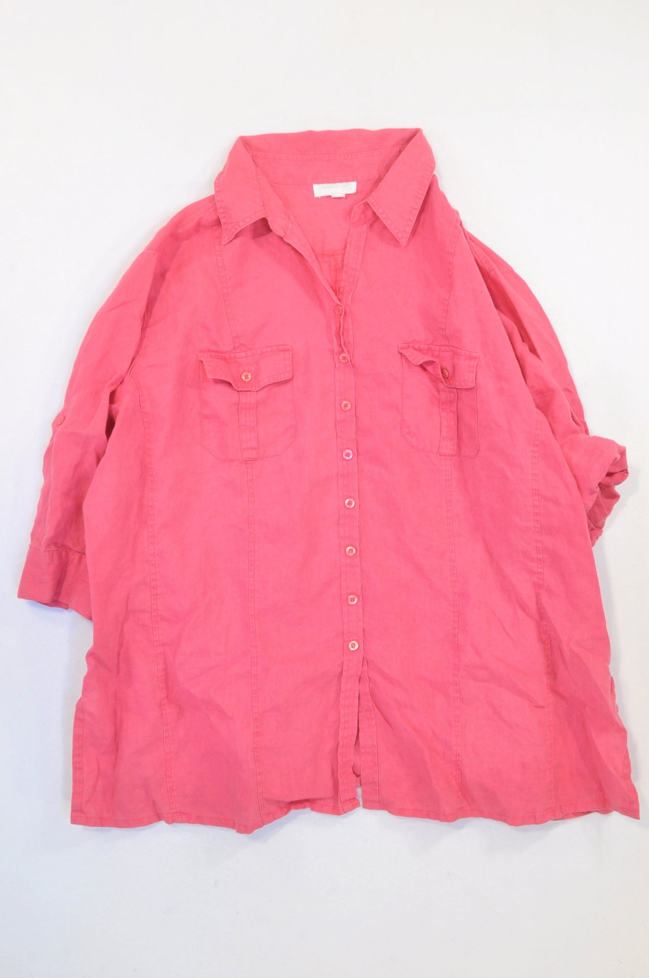 Queenspark Hot Pink Linen Button T-shirt Women Size 24