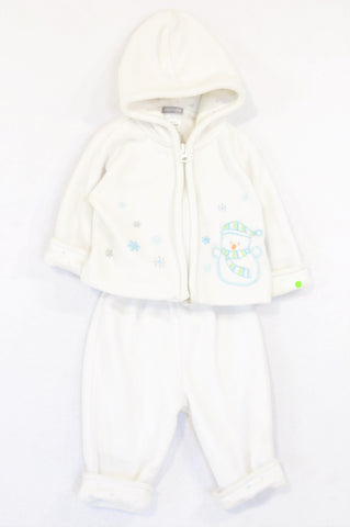 Carter's White Snowman Fleece Zip Hoodie & Pants Outfit Unisex 6-9 months