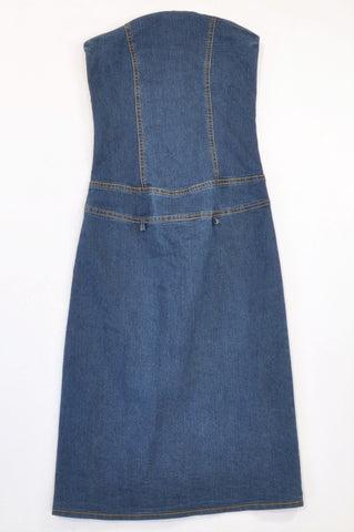 RT Jeans Stretch Denim Strapless Pencil Dress Women Size 4