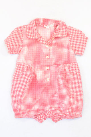 Unbranded Red Check Lightweight Romper Unisex 18-24 months