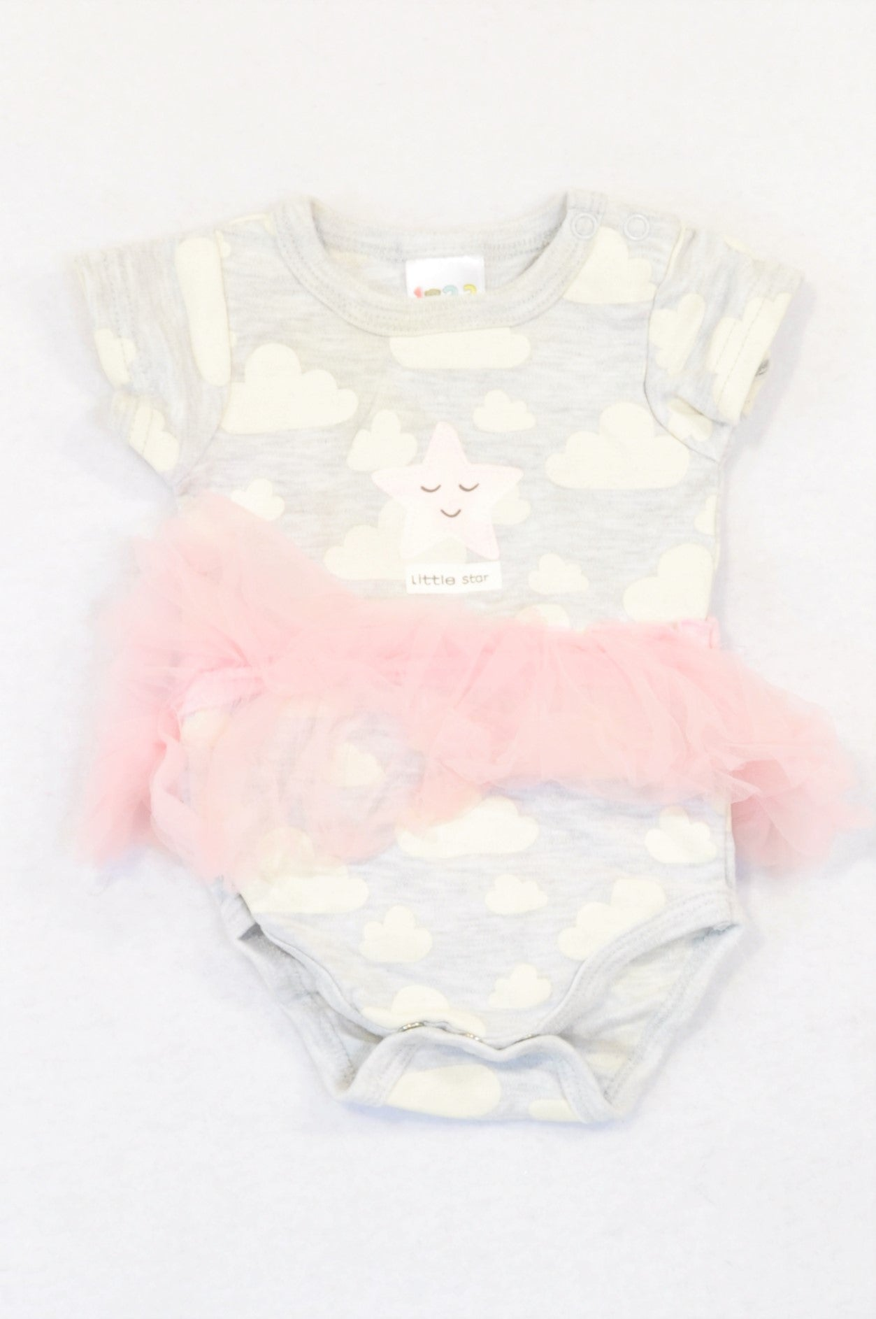 Edgars Grey Cloudy Tutu Star Baby Grow Girls 0-3 months