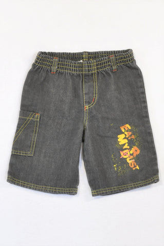 Unbranded Grey Denim Eat My Dust Shorts Boys 5-6 years
