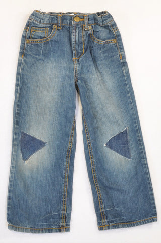 Woolworths Stone Washed Triangle Patchwork Jeans Boys 5-6 years