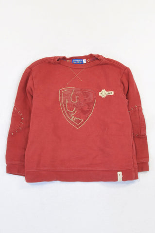 Des Petits Red Patchwork Elbow Pull Over Top Boys 5-6 years