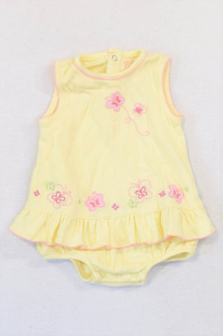 Carter's Soft Yellow Pink Embroidered Flower Baby Grow Girls 3-6 months