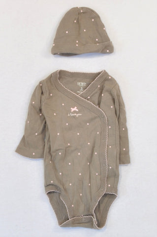 Carter's Brown Pink Dotty Kimono Snap Baby Grow & Beanie Outfit Girls 0-3 months