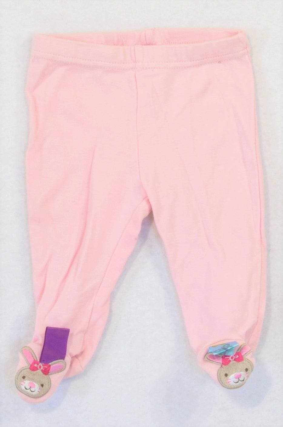 Taggies Pink Sensory Taglet Footed Leggings Girls 0-3 months