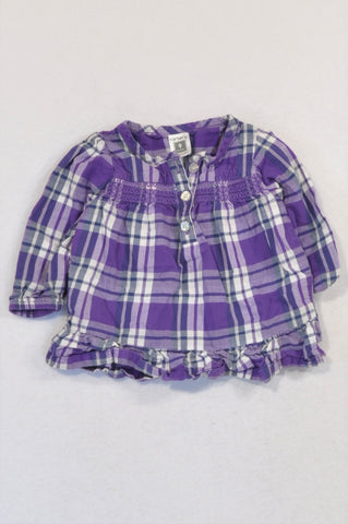Carter's Purple Plaid Button Blouse Girls 6-9 months