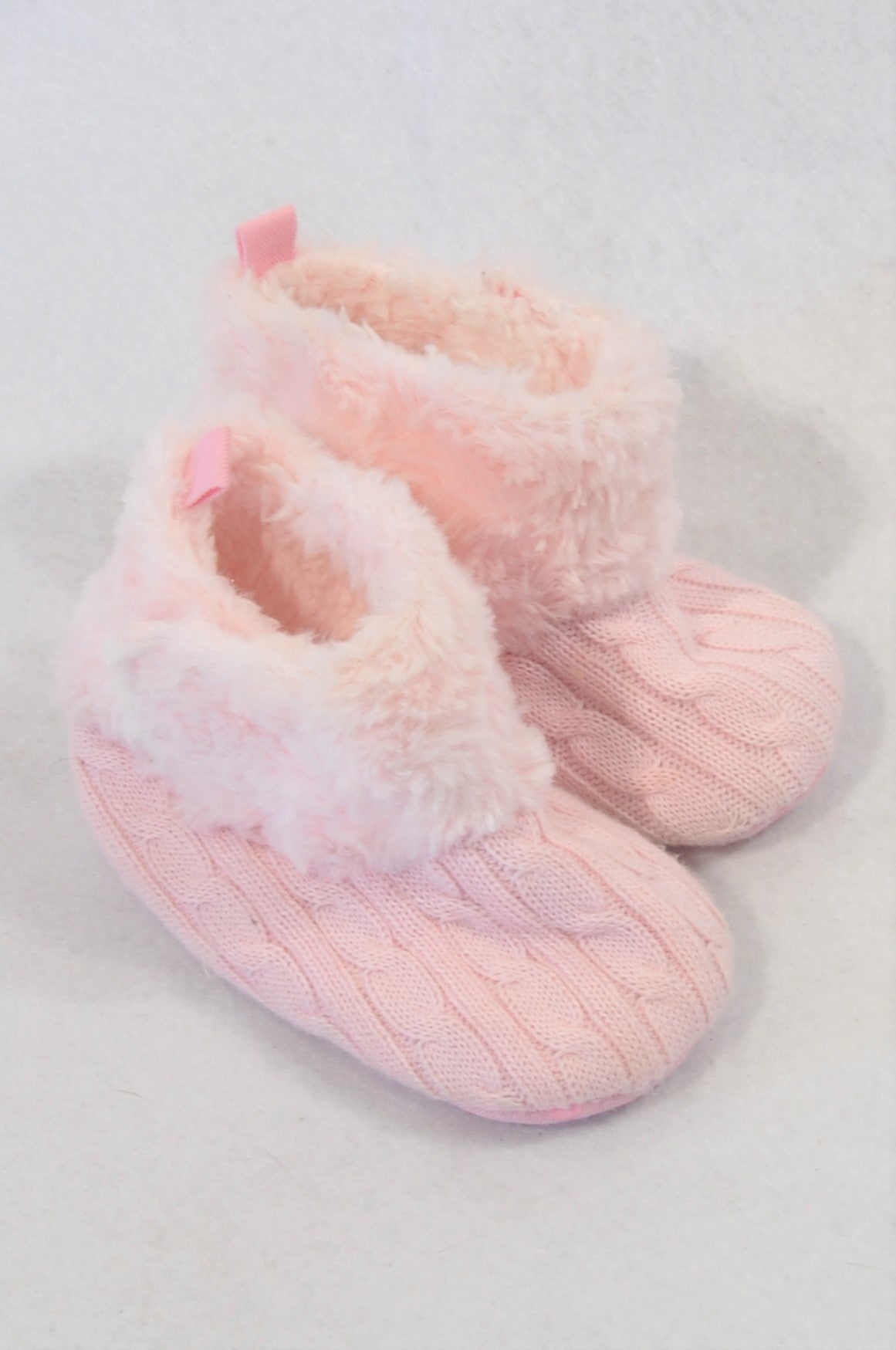 New Jolly Tots Size 3 Pink Cable Knit Fleece Trim Booties Girls 9-12 months
