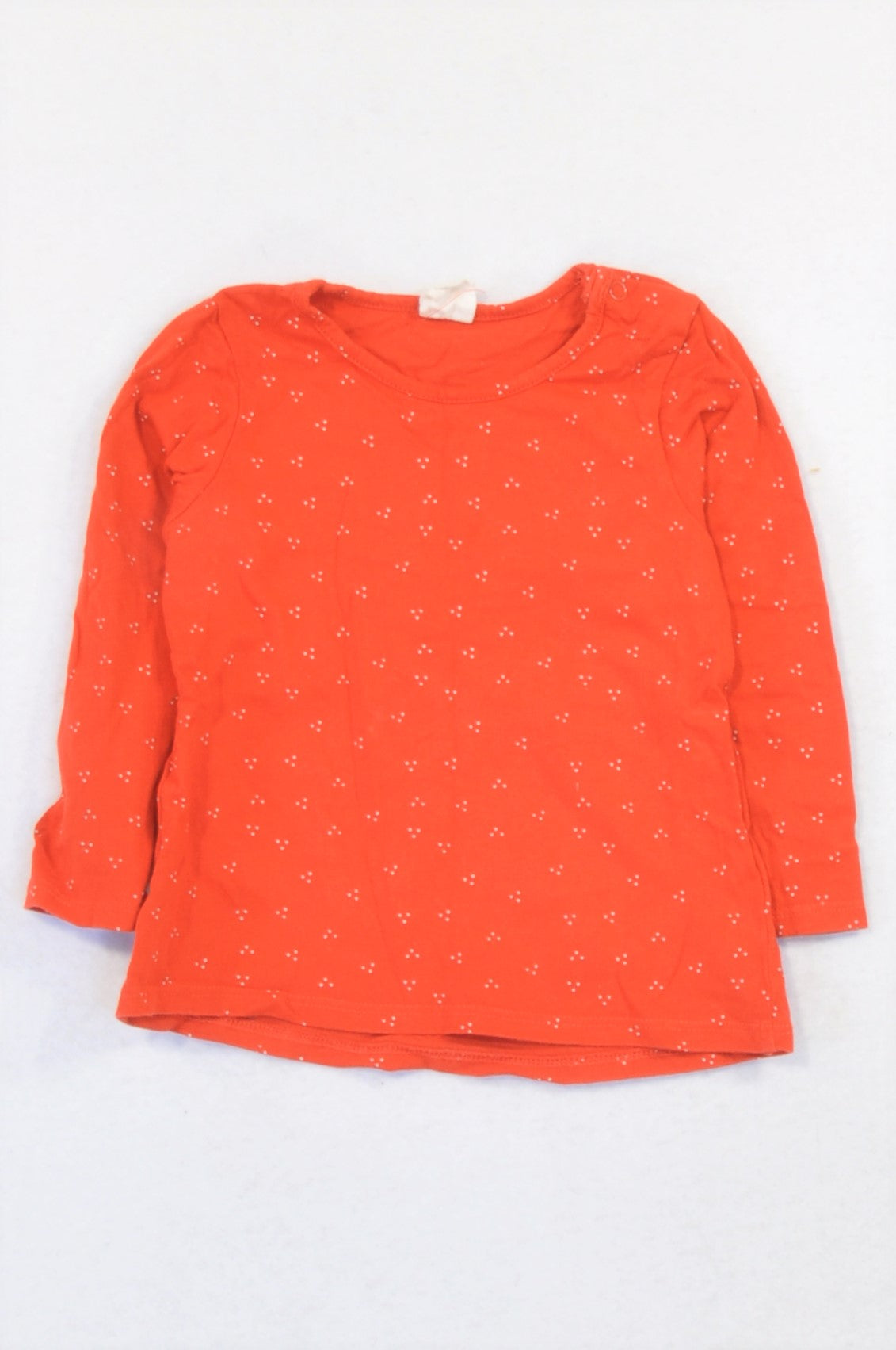 H&M Red Ditsy Dotty T-shirt Girls 9-12 months