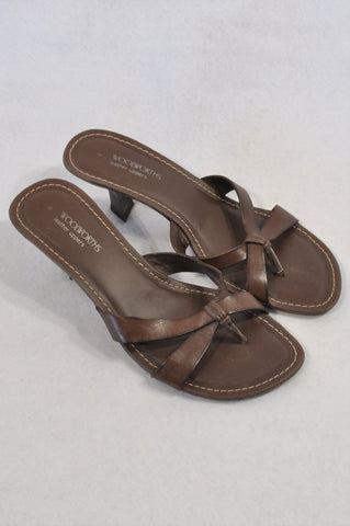 Woolworths Chocolate Brown Leather X Strap Sandals Women Size 8