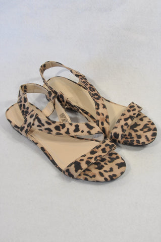 Woolworths Animal Print Slingback Small Wedge Sandals Women Size 7