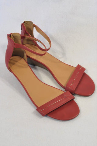 Woolworths Red Faux Leather Stud Strap Wedge Sandals Women Size 6