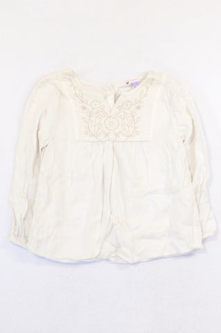 John Lewis Ivory Embroidered Neckline Blouse Girls 5-6 years