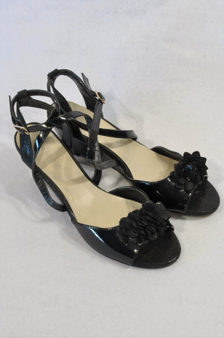 Woolworths Black Patent Faux Snake Skin Detail Wedge Sandals Women Size 7