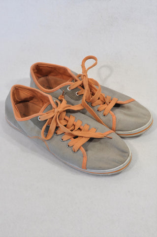 Woolworths Taupe Canvas Peach Trim Sneaker Shoes Women Size 7